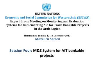 Session Four:  M&E System for AfT bankable projects