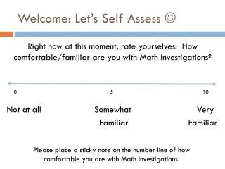 Welcome: Let's Self Assess  