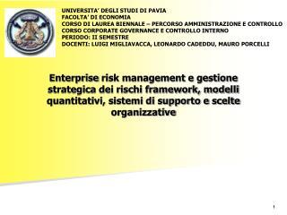 Sistema di controllo interno ERM : definizione Obiettivi aziendali Componenti dell'ERM