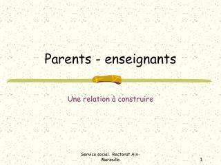 Parents - enseignants