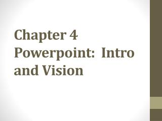 Chapter 4  Powerpoint :  Intro and Vision