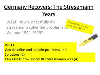 Germany Recovers: The Stresemann Years