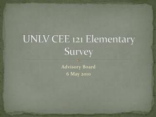 UNLV CEE 121 Elementary Survey