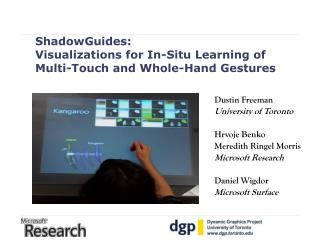ShadowGuides:  Visualizations for In-Situ Learning of  Multi-Touch and Whole-Hand Gestures
