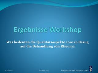 Ergebnisse Workshop