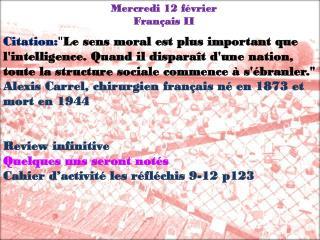 Mercredi  12  février Français  II