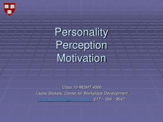 Personality Perception Motivation