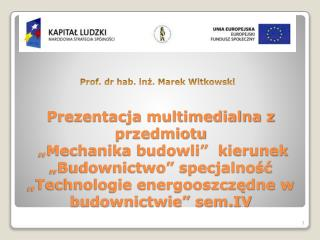 Prof. dr hab. in?. Marek Witkowski