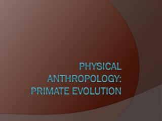 Physical Anthropology: primate evolution