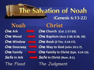 The Salvation of Noah (Genesis 6:13-22)