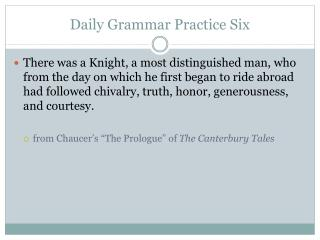 Daily Grammar Practice Six