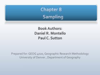 Chapter 8 Sampling