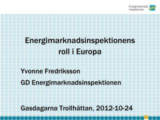 Energimarknadsinspektionens  roll  i Europa