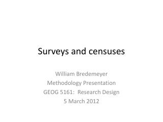 Surveys and censuses