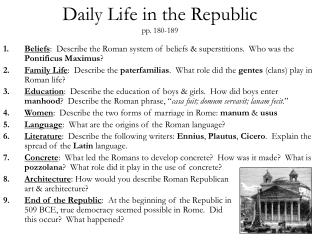 Daily Life in the Republic pp. 180-189