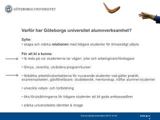Varför har Göteborgs universitet alumnverksamhet ?