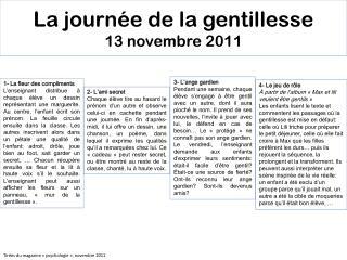 La journée de la gentillesse 13 novembre 2011