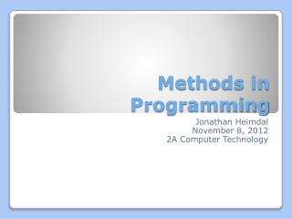 Methods in Programming