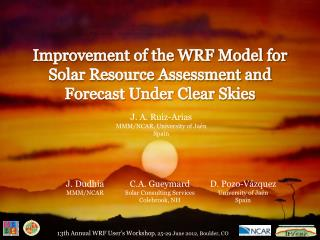 Improvement of the WRF Model for Solar Resource Assessment and Forecast Under Clear Skies