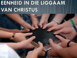 EENHEID IN DIE LIGGAAM            VAN CHRISTUS