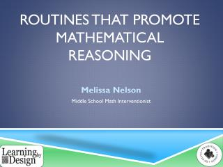 Routines that promote mathematical Reasoning