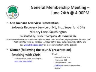 General Membership Meeting �  June 24th @ 4:00PM