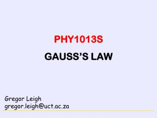 PHY1013S GAUSS'S LAW