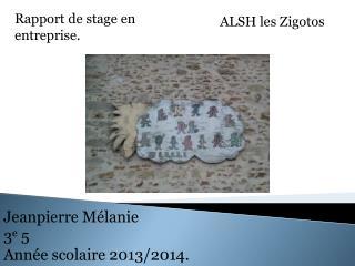 Jeanpierre Mélanie 3 e  5 Année scolaire 2013/2014.
