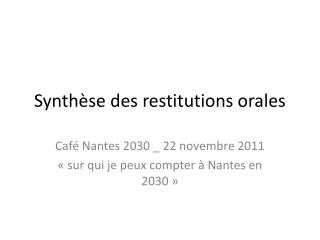 Synthèse des restitutions orales