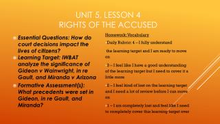 Unit 5, Lesson 4 Rights of the Accused