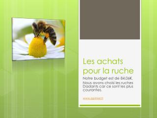 Les achats pour la ruche