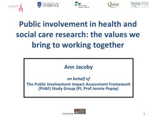Public involvement in health and social care research: the values we bring to working together