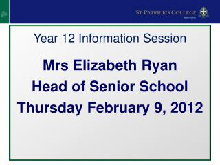 Year 12 Information Session