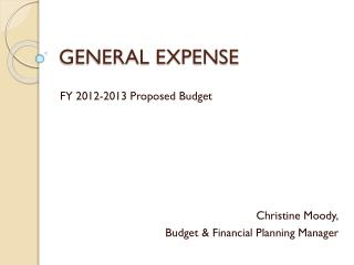 GENERAL EXPENSE