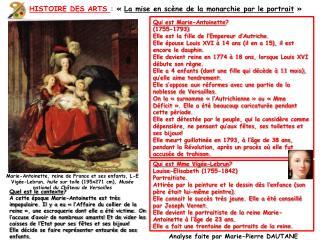 HISTOIRE DES ARTS  :  « La mise en scène de la monarchie par le portrait »