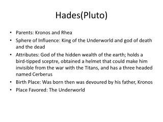 Hades(Pluto)