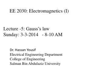 EE 2030:  Electromagnetics  (I)