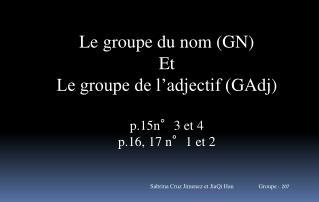Le groupe du nom (GN) Et Le groupe de l�adjectif ( GAdj ) p.15n�3 et 4 p.16, 17 n�1 et 2