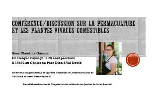 Conférence/discussion sur la  permaculture  et les plantes vivaces comestibles