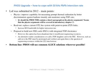 PHOS Upgrade –  how  to  cope with  50 kHz  PbPb interction  rate