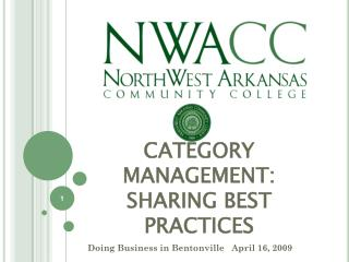 CATEGORY MANAGEMENT:  SHARING BEST PRACTICES