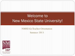 Welcome to  New Mexico State University!