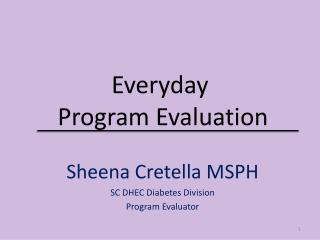 Everyday  Program Evaluation
