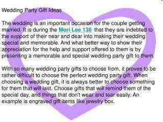 Wedding Party Gift Ideas