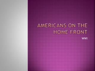 Americans on the Home Front
