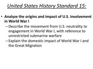United States History Standard 15: