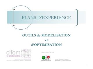 OUTILS de MODELISATION  et  d'OPTIMISATION