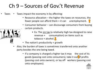Ch 9 – Sources of Gov.'t Revenue