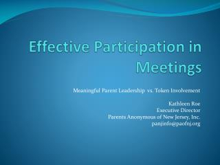 Effective Participation in Meetings