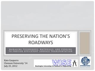 Preserving the Nation's Roadways